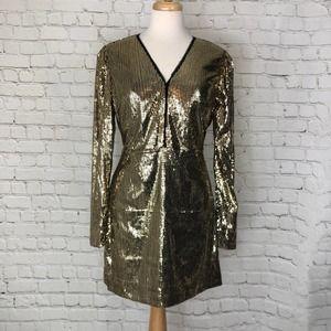 Rebecca Minkoff Gold Sequin Dress Size 8 NWT